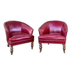 Pair of 20th Century English Red Leather Barrel Chairs