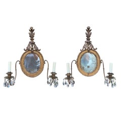 Pair of 18th Century Giltwood Girandole Sconces with Mirrors