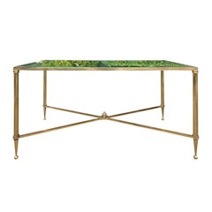 Neoclassical Baguès Style Brass and Glass Coffee Table, circa 1960s