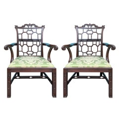 Pair of 19th Century English Chinese Chippendale Mahogany Armchairs