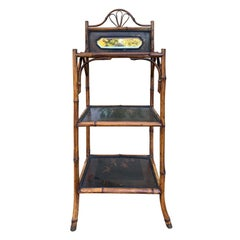 Bamboo and Chinoiserie Etagere with Mirror, circa 1890-1900