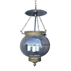 Small 19th Century English Glass Bell Jar Lantern with Brass and Smokebell