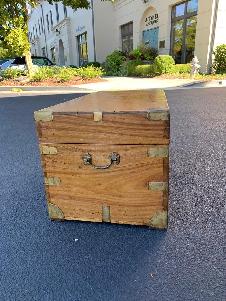 Camphor Wood and Brass Campaign Trunk, circa 1820s For Sale 1