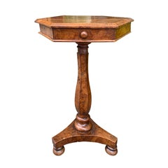 19th Century William IV Burled Walnut Octagonal Top Table