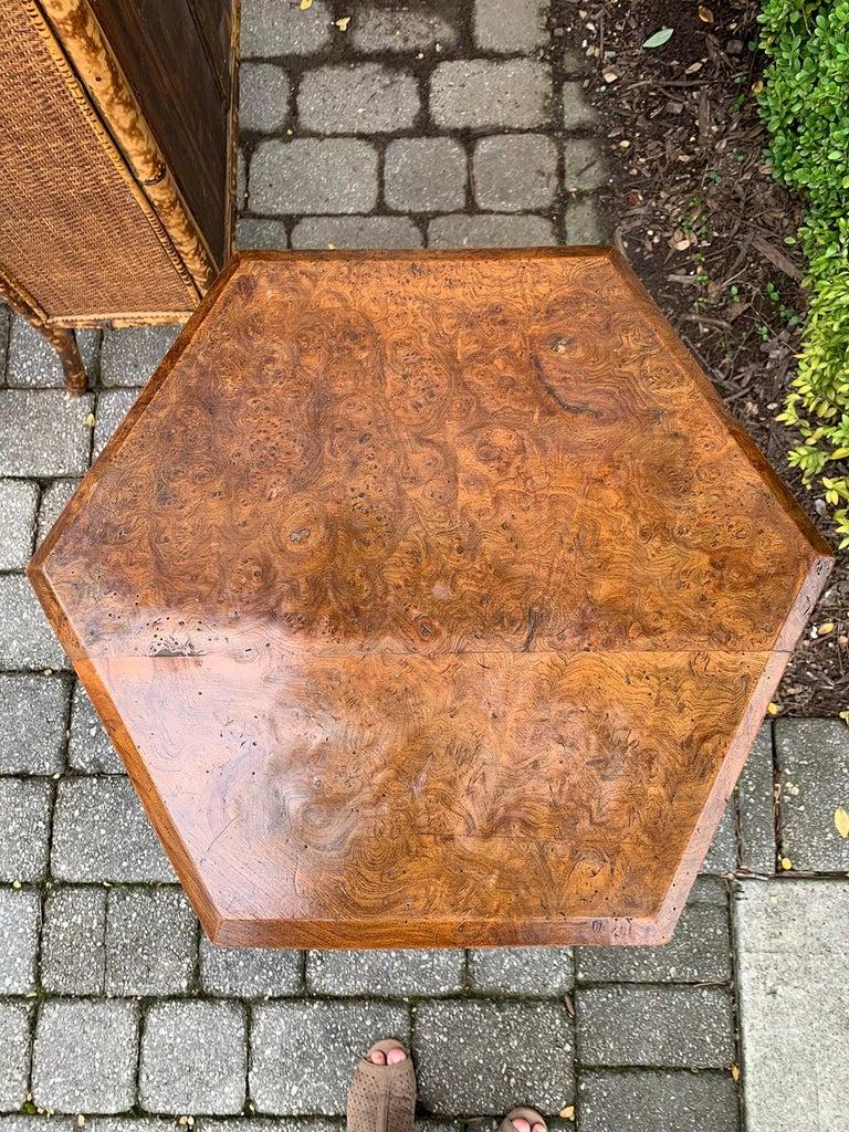 19th century William IV burled walnut octagonal top table.