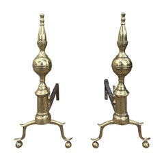 Pair of 19th Century Federal Brass Andirons