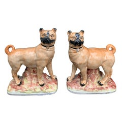 Pair of circa 1860 Staffordshire Pottery Figures of Standing Pugs