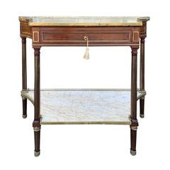 French Marble Top and Bronze Dessert Console, Exceptional Color, circa 1820