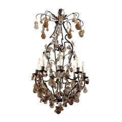 Louis XV Style Iron, Crystal, and Amethyst Chandelier