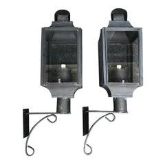 Pair of 20th Century Tole Wall Lanterns, One Light