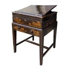 Chinoiserie Lacquered Writing Box on Stand