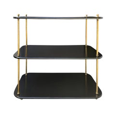 20th Century Regency Style Brass and Ebonized Wood Étagère