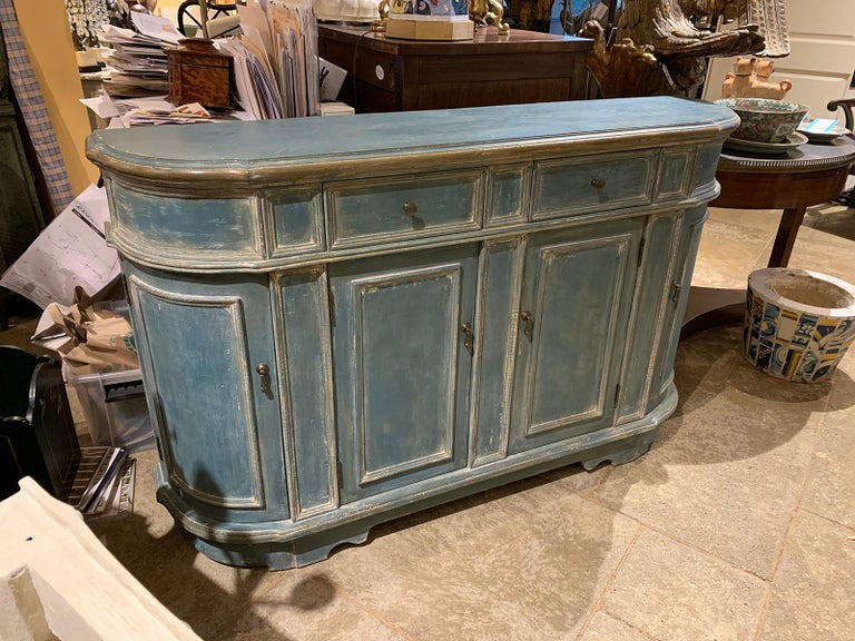 20th century continental narrow side cabinet, custom paint. Two corner shelves/doors, two front shelves/doors, two top drawers.