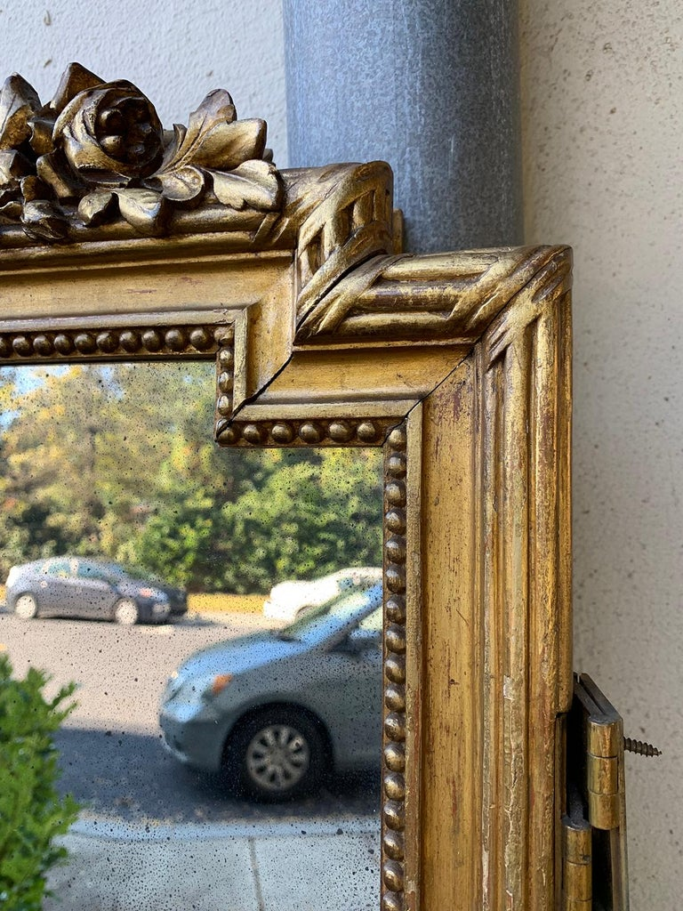 Set of 4 19th-20th Century Louis XV Style Giltwood Antiqued Mirrored Panels For Sale 1