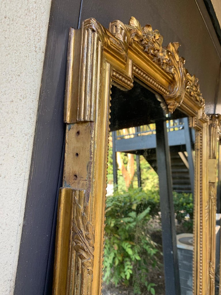 Set of 4 19th-20th Century Louis XV Style Giltwood Antiqued Mirrored Panels For Sale 6