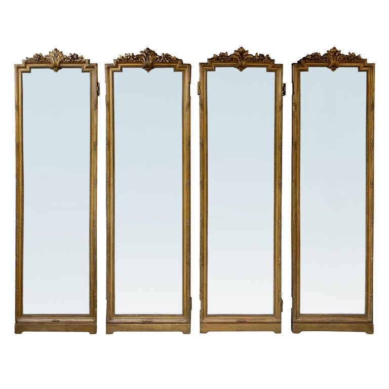Set of 4 19th-20th Century Louis XV Style Giltwood Antiqued Mirrored Panels For Sale