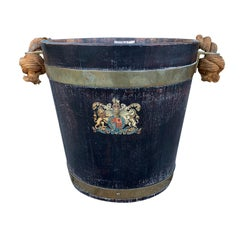 19th-20th Century Wooden Bucket with Rope Handle, Crest Detail