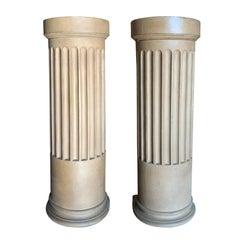 Pair of 19th Century English Faience Column Pedestals