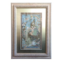 Framed 18th-19th Century Persian Page Out of a Story Book with Animals
