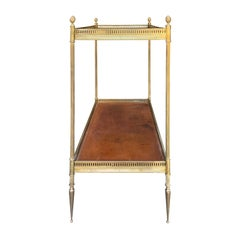 Leather and Brass Two-Tier Rectangular Table, circa 1930