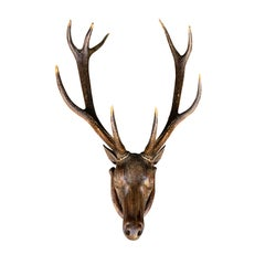 19th Century Carved Wall-Mount Stag Head
