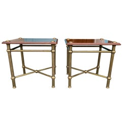 Pair of 20th Century Cuban Mahogany Custom Made Side Tables, Brass Legs