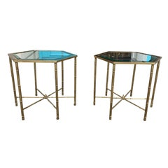 Pair of Midcentury Hexagonal Faux Bamboo Brass and Glass Top Side Tables
