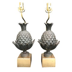 Pair of 19th Century Bronze Pineapple Finials as Lamps, Custom Bases
