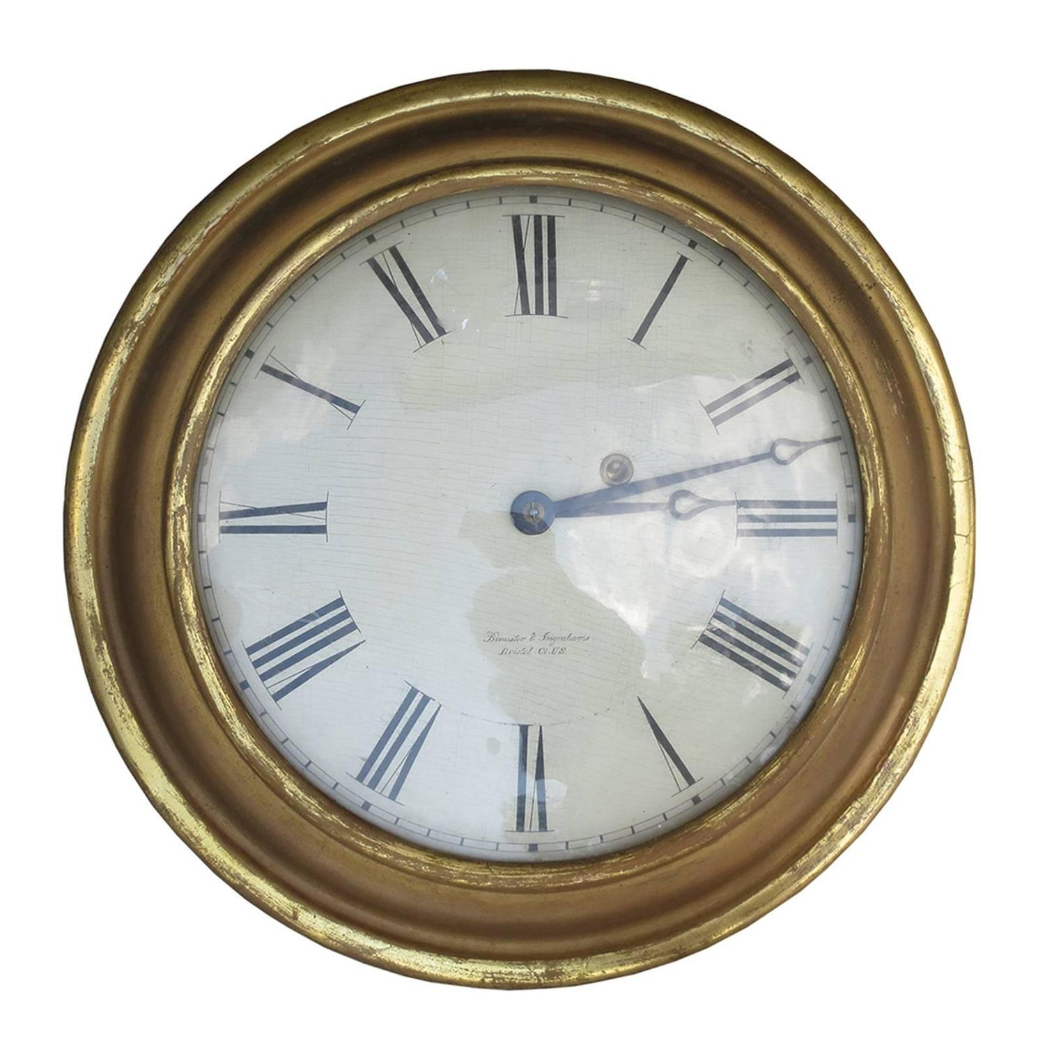 1830s American Giltwood Clock By Brewster And Ingraham