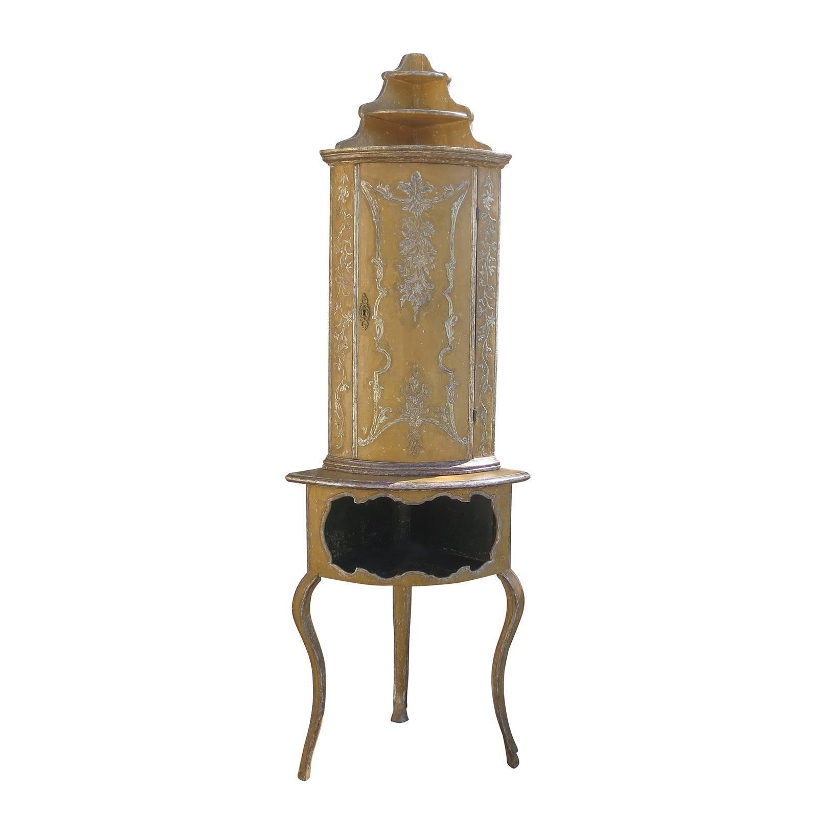 19th-20th Century Painted Italian Corner Cabinet