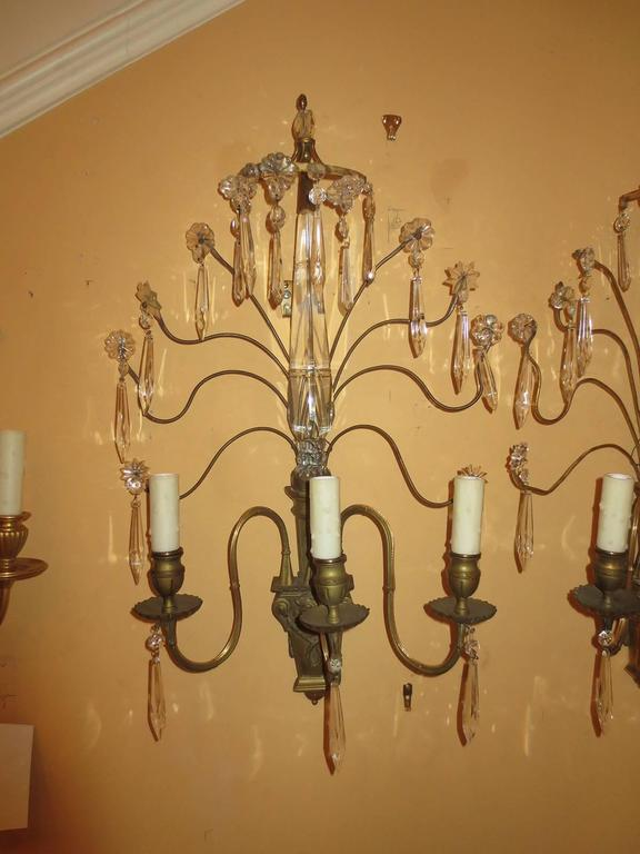 Pair of Early 20th Century Bronze and Crystal Sconces In Good Condition For Sale In Atlanta, GA