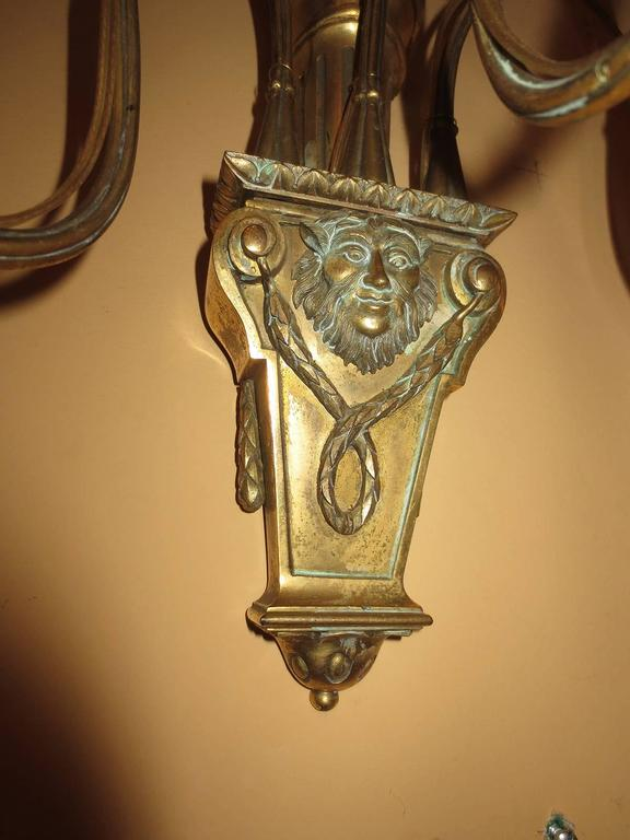 Pair of Early 20th Century Bronze and Crystal Sconces For Sale 1
