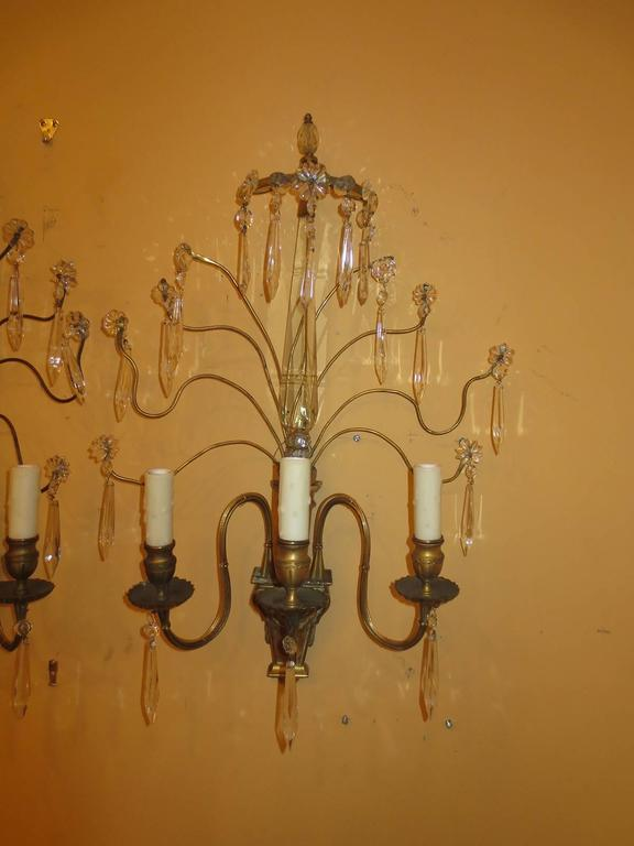 Pair of Early 20th Century Bronze and Crystal Sconces For Sale 3