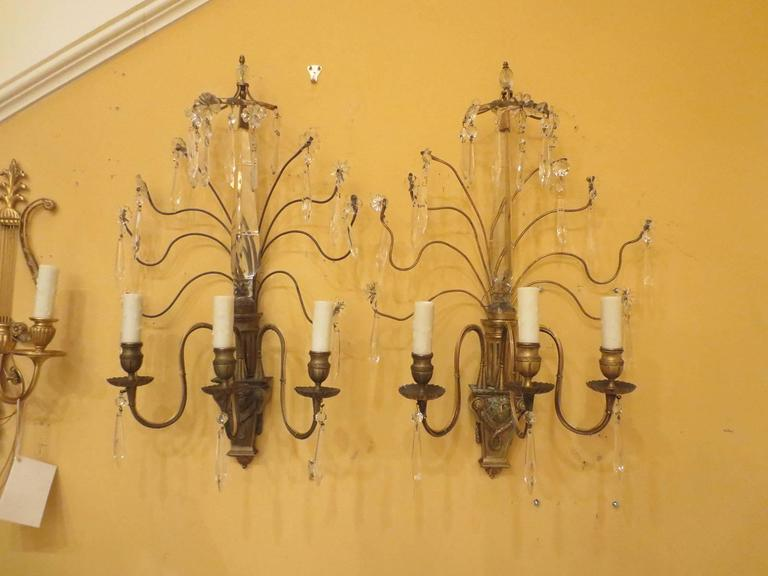 Pair of Early 20th Century Bronze and Crystal Sconces For Sale 4
