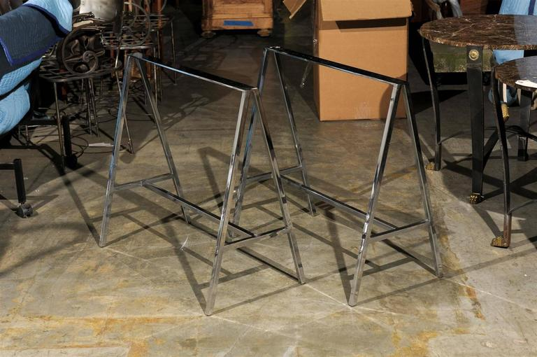 Pair of 20th Century Chrome Sawhorses 2