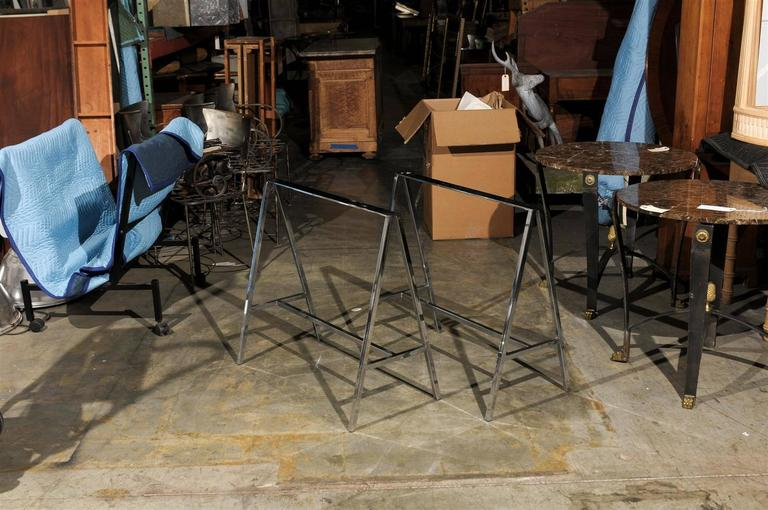 Pair of 20th Century Chrome Sawhorses 3