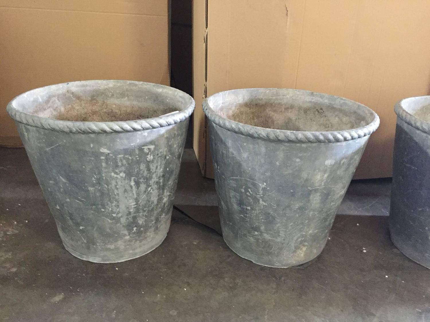 19th 20th century set of four english lead containers with for Lead planters for sale