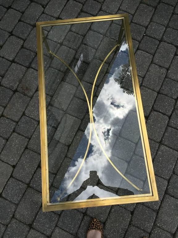 Mid-Century Brass and Glass Coffee Table in the Style of Baguès 2