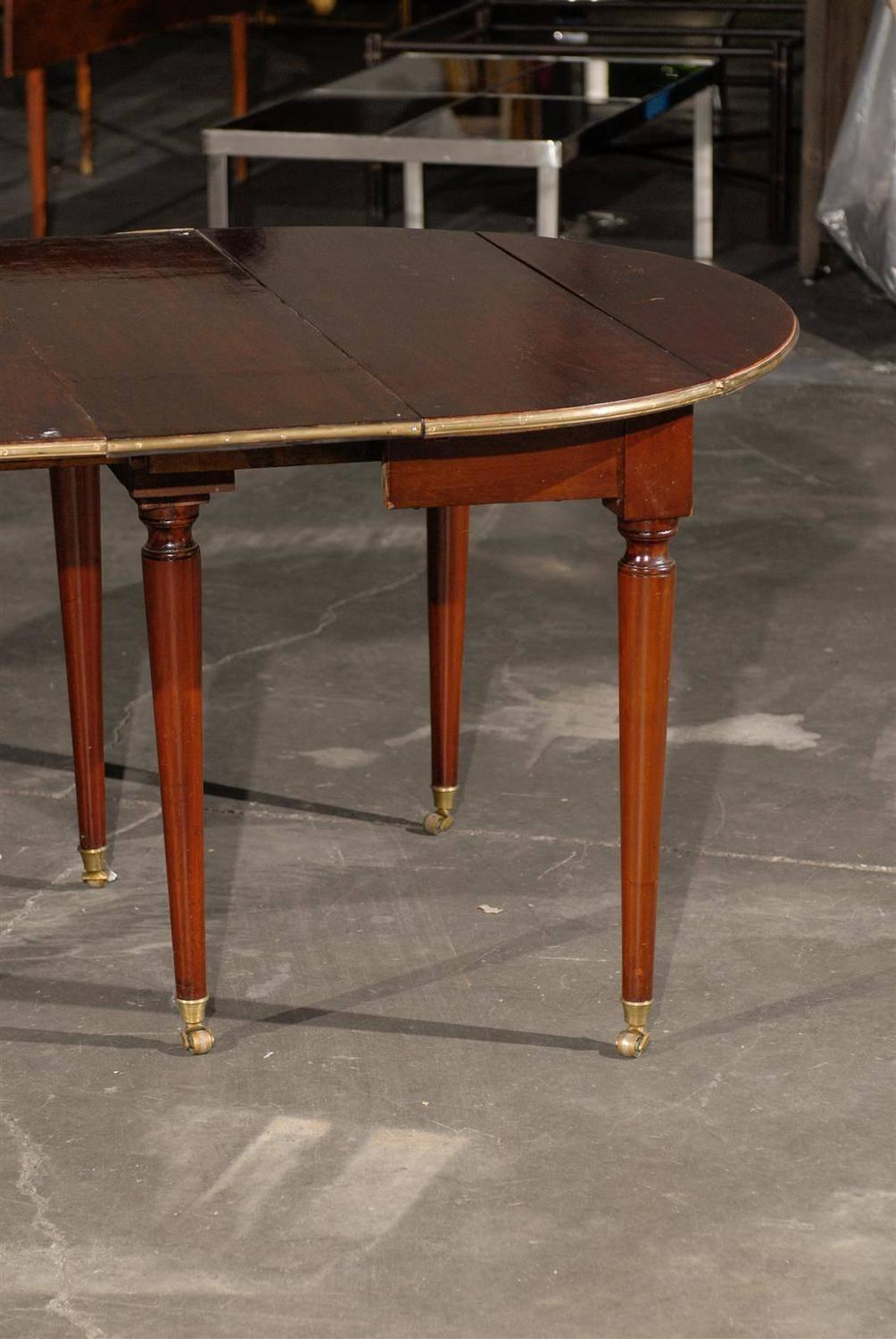 19th century french extension dining table two leaves 1 18 w and 1