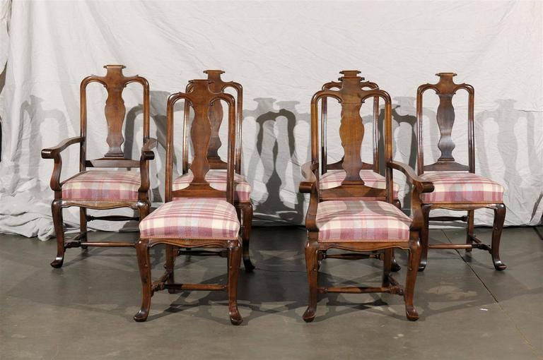 French Provincial 19th Century Set of Six Continental Provincial Dining Chairs For Sale