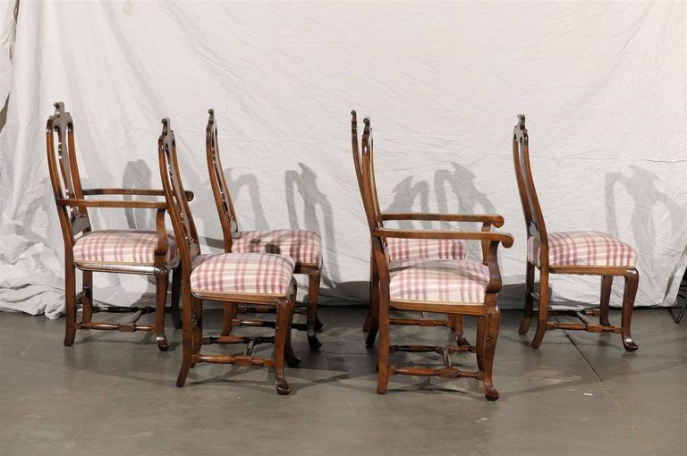 Wood 19th Century Set of Six Continental Provincial Dining Chairs For Sale