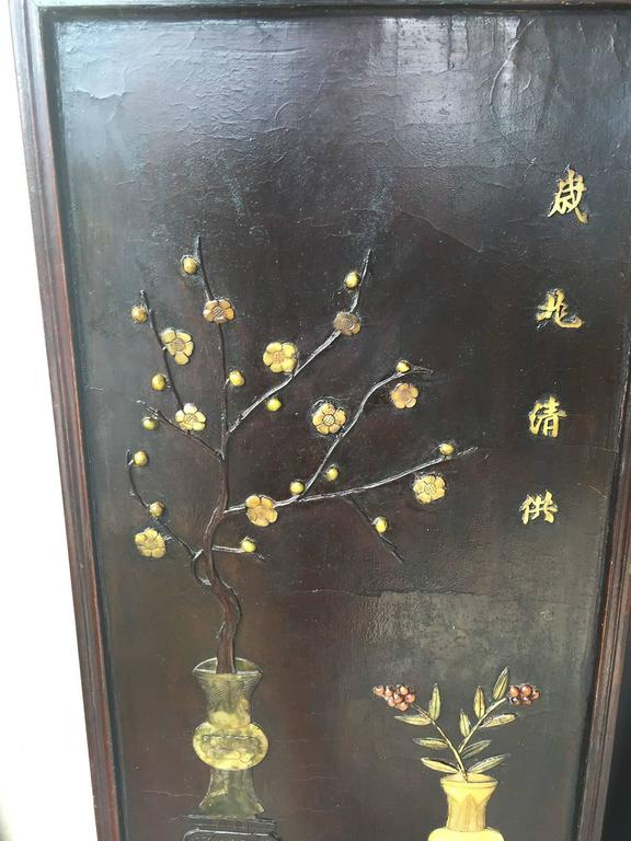 Pair of Chinese 19th Century Carved Inlaid Lacquered Wooden Panels 1