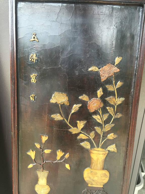 Pair of Chinese 19th Century Carved Inlaid Lacquered Wooden Panels 4