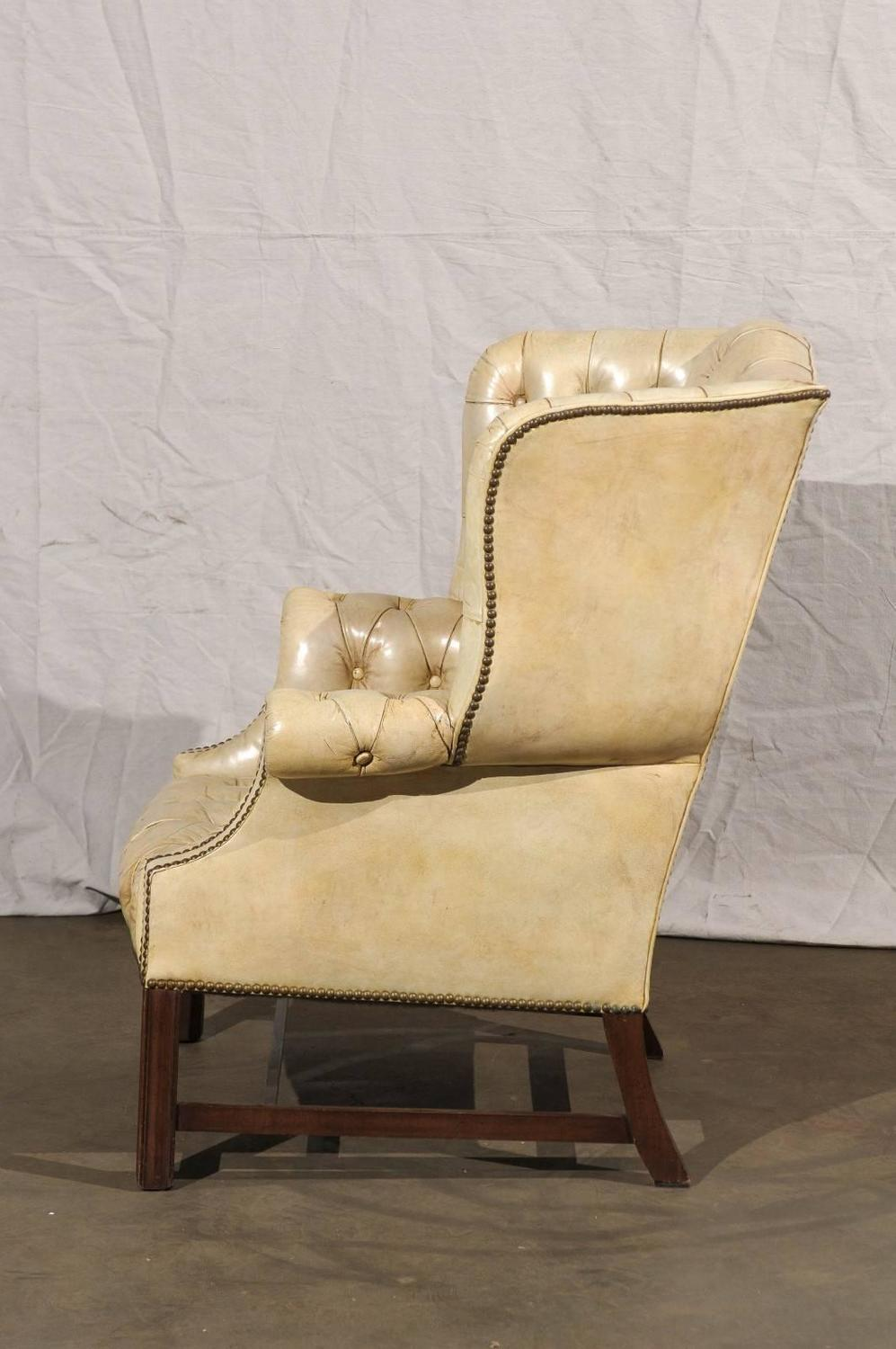 white leather armchairs sale 20th century tufted georgian style wing chair white 21971 | 16 CH 038G z