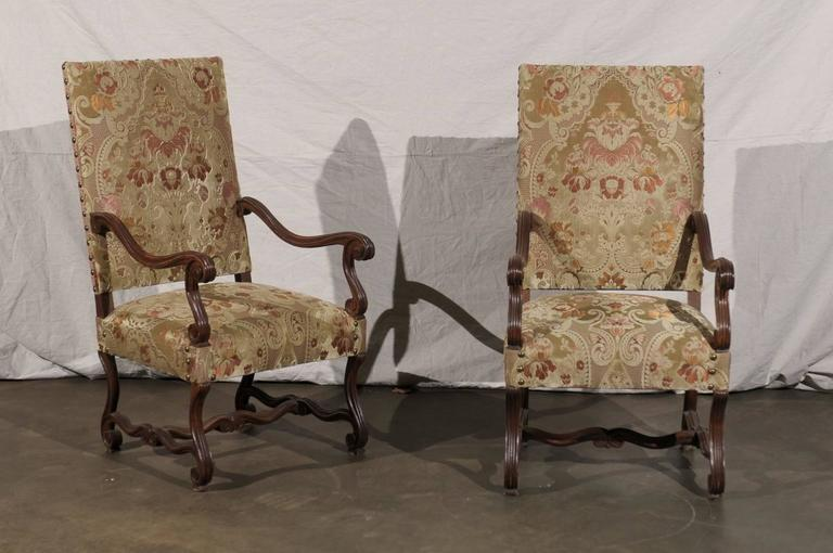 Pair of 19th century French walnut high back chairs, SH: 19
