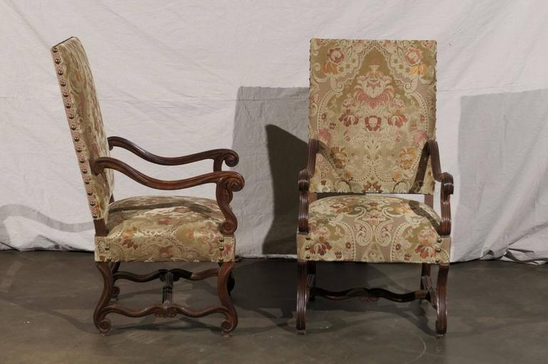 Pair of 19th Century French Walnut High Back Chairs In Excellent Condition For Sale In Atlanta, GA