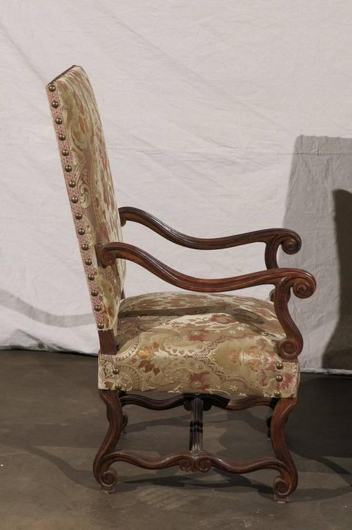 Pair of 19th Century French Walnut High Back Chairs For Sale 1