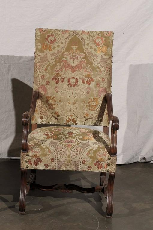 Pair of 19th Century French Walnut High Back Chairs For Sale 2