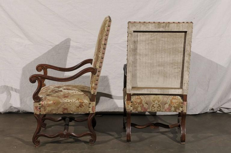 Pair of 19th Century French Walnut High Back Chairs For Sale 4