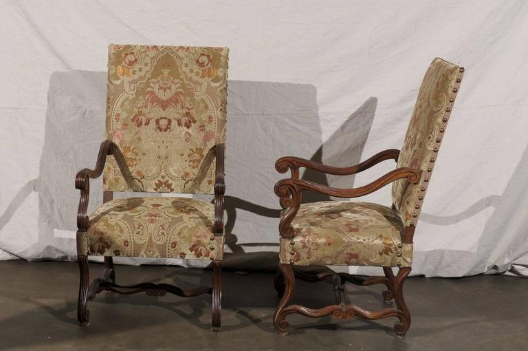 Pair of 19th Century French Walnut High Back Chairs For Sale 5